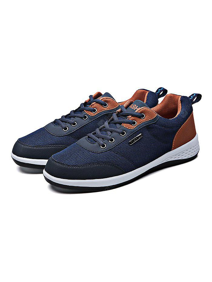 BLUE 43 Mesh Running Lace Up Sports Male Casual Shoes