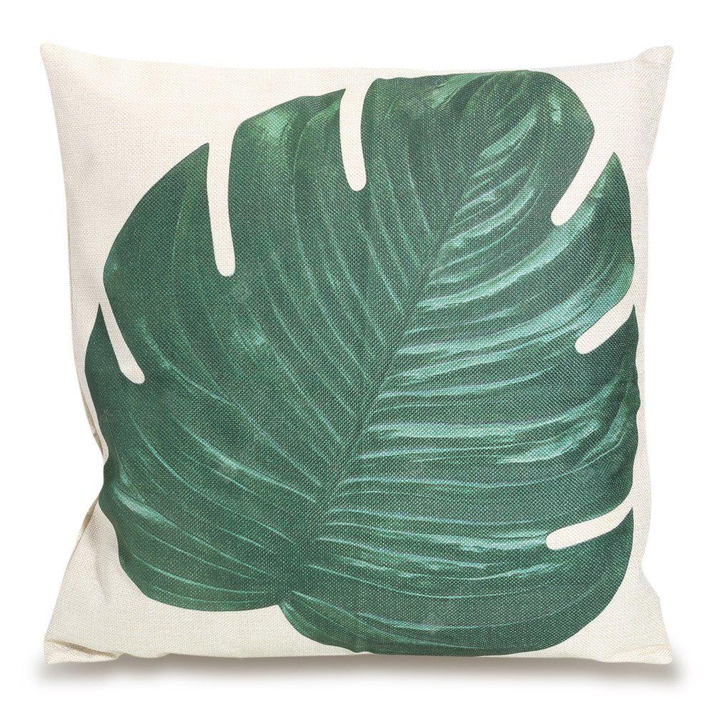 Square Throw Pillow Cases : Buy Big Leaf Square Throw Pillow Case GREEN at GearBest - Chinese Goods Catalog - ChinaPrices.net
