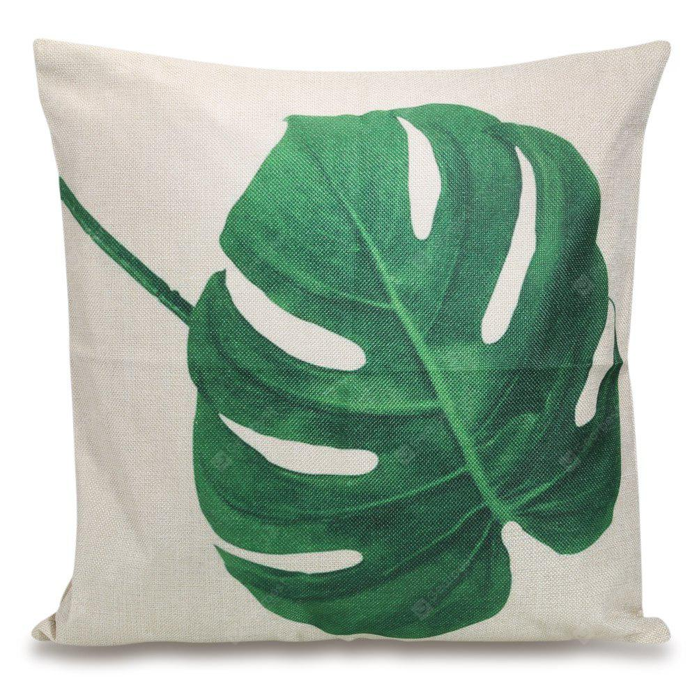 Green Leaf Square Throw Pillow Case