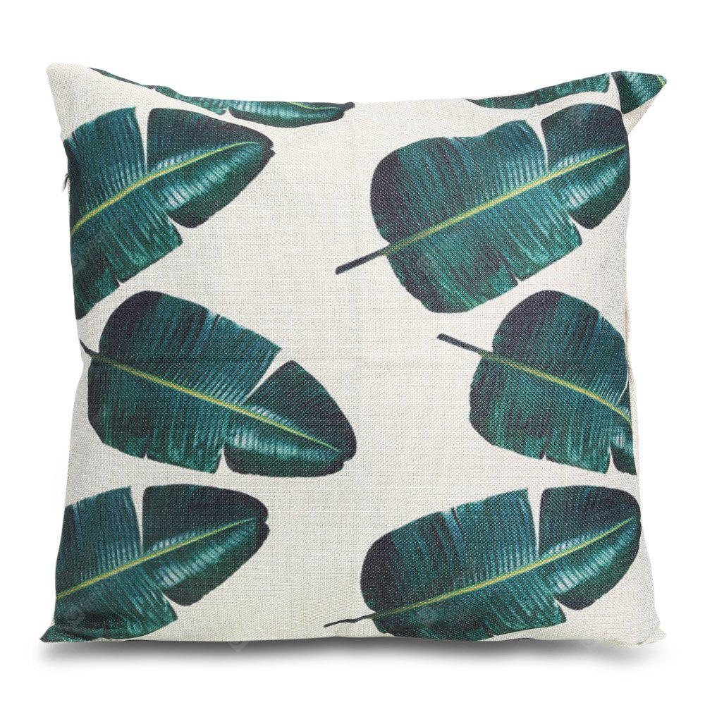 Banana Leaf Pattern Square Throw Pillow Case
