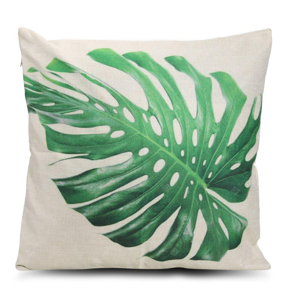 Leaf Printed Square Throw Pillow Case