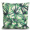 Bamboo Leaf Printed Square Throw Pillow Case - GREEN