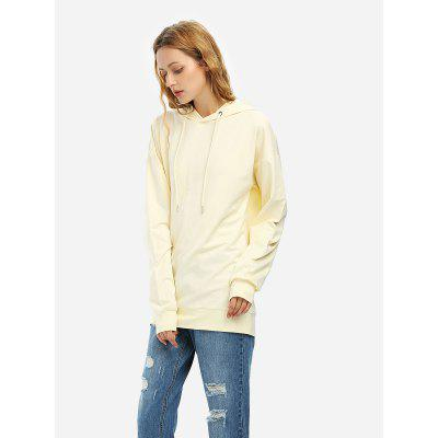 ZANSTYLE Women Drawstring Fleece Hoodie Beige Sweatshirt