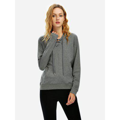 ZANSTYLE Women Lace Up Dark Heather Gray Fleece Hoodie