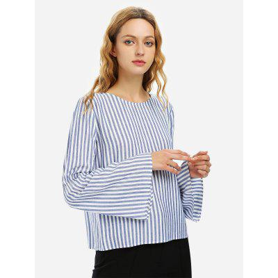 Buy BLUE WHITE STRIPED Long Bell Sleeve Striped Blouse Shirt for $16.07 in GearBest store