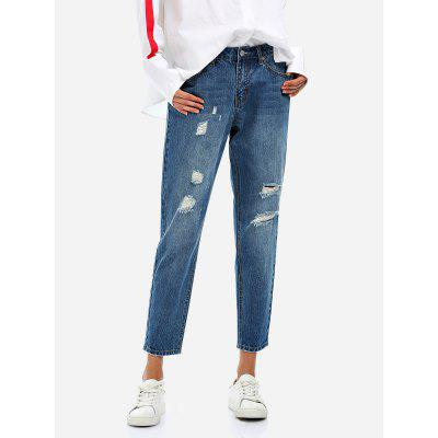 ZANSTYLE Women Boyfriend Ripped Blue Ankle Jeans