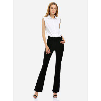 Stretch Knit High Waist Flared Pants