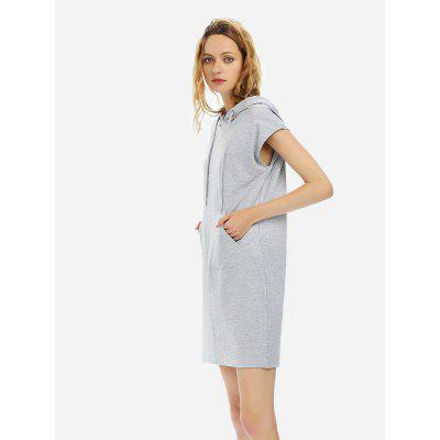 Women Drawstring Sleeveless Fleece Hoodie Heather Gray Dress