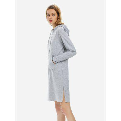 Women Drawstring Fleece Dress Hoodie Heather Gray SweatshirtSweatshirts &amp; Hoodies<br>Women Drawstring Fleece Dress Hoodie Heather Gray Sweatshirt<br>