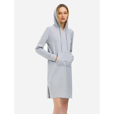 ZANSTYLE Mulheres Drawstring Fleece Vestido Hoodie Heather Grey Sweatshirt
