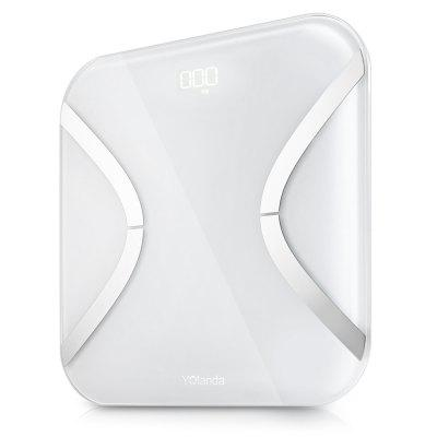 Yolanda Mini Bluetooth 4.0 Smart BMI Body Weight Fat ScaleBody Scale<br>Yolanda Mini Bluetooth 4.0 Smart BMI Body Weight Fat Scale<br><br>Battery Included or Not: Yes<br>Body Material: ABS<br>Color: White<br>Compatible with: IOS, Android<br>Feature: Screen Backlight, High-precision, Anti-rollover, Large Screen<br>Function: Protein, Basal Metabolic Rate, BMI, Body Fat Percentage, Bone Mass, Muscle Mass, Physical Age, Weight, Portable, Visceral Fat<br>Glass Material: Tempered Glass<br>Package Contents: 1 x Yolanda Mini Fat Scale, 1 x English User Manual, 4 x AAA Battery<br>Package Dimension: 32.00 x 32.00 x 5.10 cm / 12.6 x 12.6 x 2.01 inches<br>Package Weights: 1.515kg<br>Power Supply: 4 x AAA battery ( included )<br>Product Dimension: 26.00 x 26.00 x 2.60 cm / 10.24 x 10.24 x 1.02 inches<br>Product Weights: 1.175kg<br>Screen size: 26 x 26cm<br>Type: Intelligent Body Fat Scale<br>Weight Range: 0.2 - 150kg