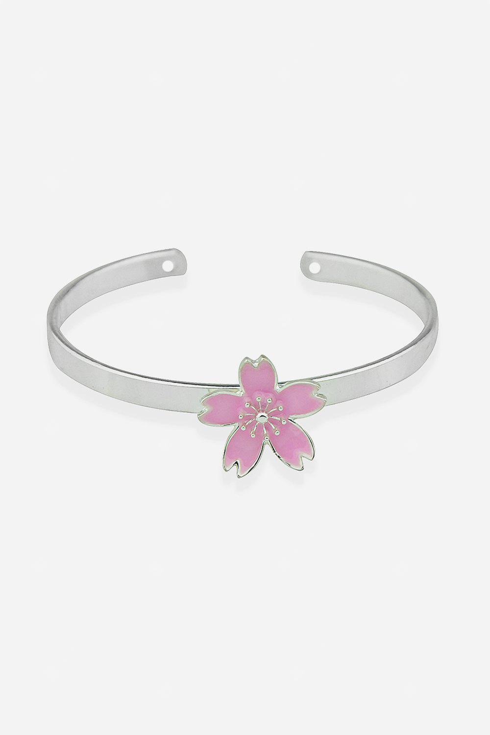 Alloy Open Cuff Flower Bracelet