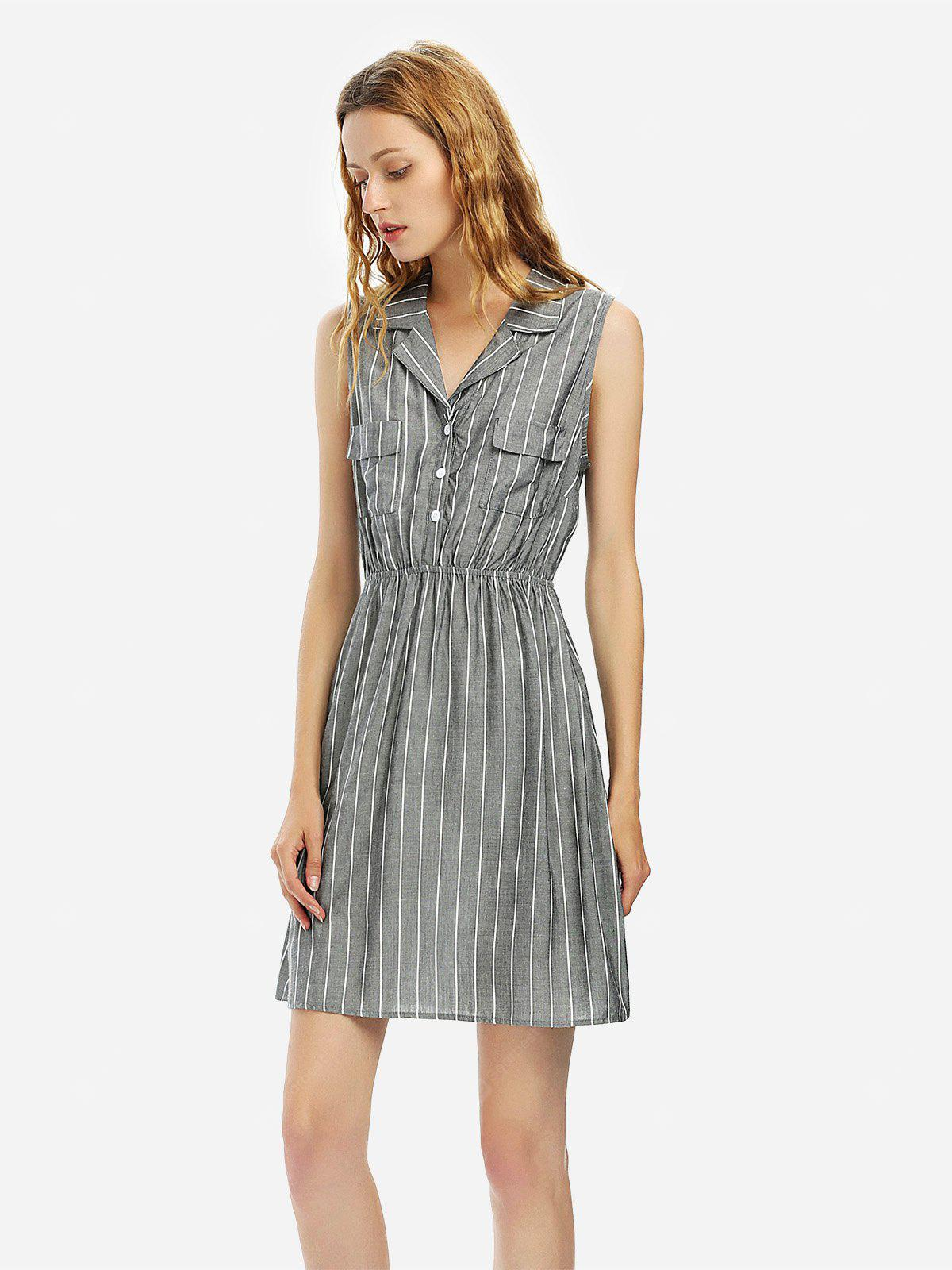 Women Gray Sleeveless Shirt Dress