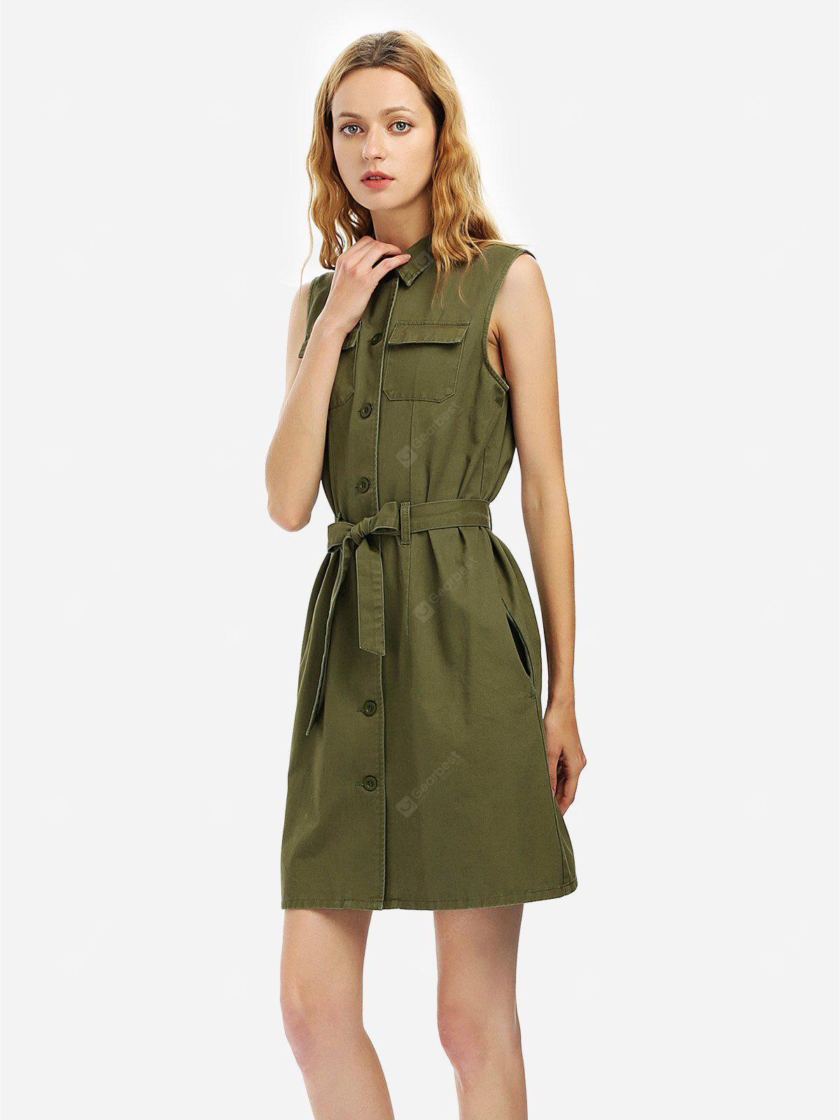 Women Khaki Sleeveless Shirt Dress