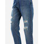 ZANSTYLE Women Boyfriend Ripped Blue Ankle Jeans - BLUE