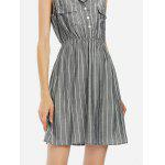 Women Gray Sleeveless Shirt Dress - GRAY