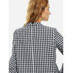 Bell Sleeve Plaid Blouse Shirt - BLACK AND WHITE