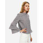 Bell Sleeve Plaid Blouse Shirt - WHITE AND COFFEE