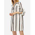 Women V Neck Blouse White Shirt Dress - BLACK WHITE STRIPED