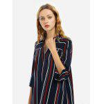 Women V Neck Blouse Blue Shirt Dress - BLUE STRIPE
