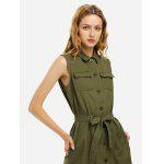 Women Khaki Sleeveless Shirt Dress - ARMY GREEN
