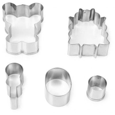 5PCS Bear Cow Cookie Cutter Cake Fondant Mold