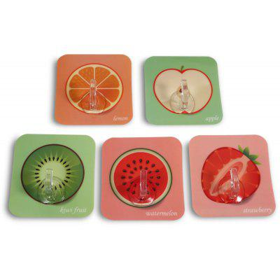 5PCS Fresh Fruit Pattern Reusable Self-adhesive Hook for Wall Tile Glass