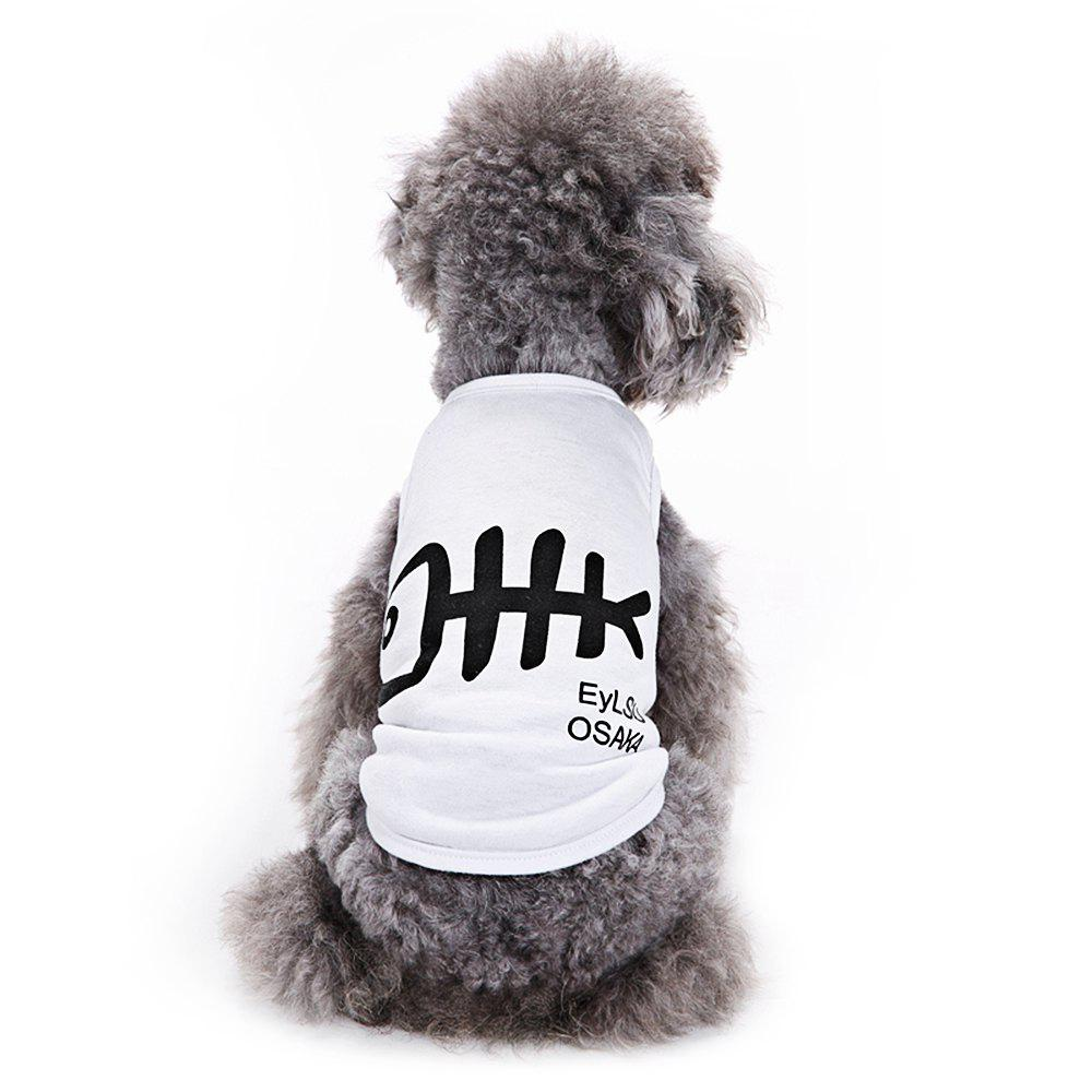 Fish Bone Cotton Pet Dog Clothes Tee Costume