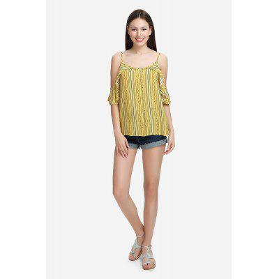 Buy YELLOW M Pinstripe Cold Shoulder Blouse Spaghetti Strap Summer Top with Floral Print for $14.71 in GearBest store