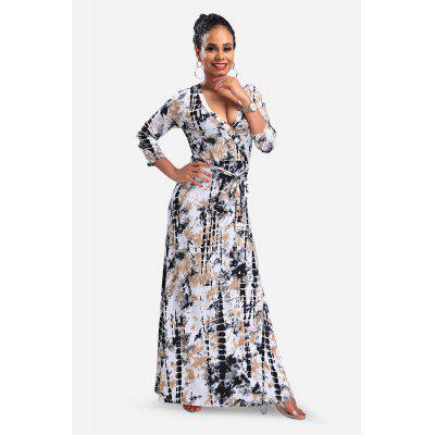 Wash Painting 3/4 Sleeve V-neck Maxi Dress com cintura alta