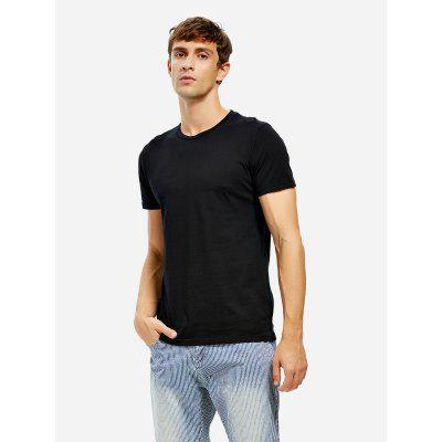 ZANSTYLE Crew Neck Male Black T Shirt