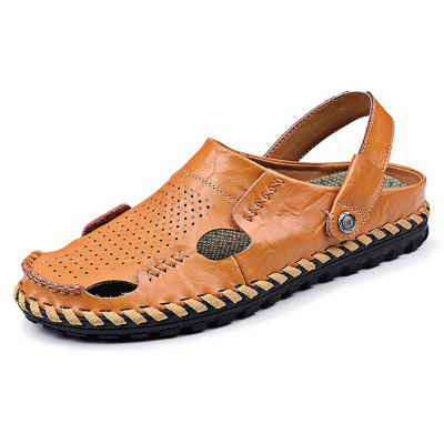 Fashion Breathable Leather Men Leisure Slippers