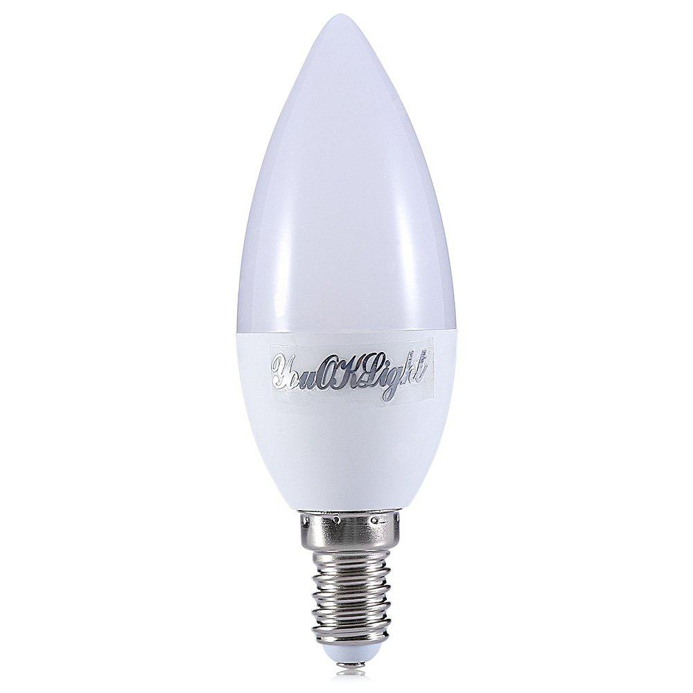 WARM WHITE LIGHT 1PC YouOKLight E14 4.5W 10 LEDs Candle Lamp