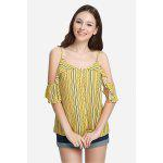 Pinstripe Cold Shoulder Blouse Spaghetti Strap Summer Top with Floral Print - YELLOW