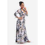 Wash Painting 3/4 Sleeve V-neck Maxi Dress with High Waist - COLORMIX