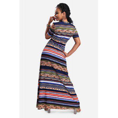 Striped V-neck Maxi Dress with High WaistMaxi Dresses<br>Striped V-neck Maxi Dress with High Waist<br><br>Dresses Length: Maxi<br>Material: Polyester, Spandex<br>Neckline: V-Neck<br>Occasion: Semi Formal, Party, Formal, Wedding<br>Package Contents: 1 x Dress<br>Package size: 30.00 x 35.00 x 2.00 cm / 11.81 x 13.78 x 0.79 inches<br>Package weight: 0.4200 kg<br>Pattern Type: Striped<br>Product weight: 0.3500 kg<br>Season: Summer<br>Silhouette: Fit and Flare<br>Sleeve Length: Short Sleeves<br>Style: Sexy<br>With Belt: Yes