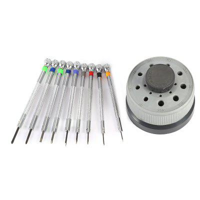 Rotating Screwdriver SetWatch Accessories<br>Rotating Screwdriver Set<br><br>Material: Plastic<br>Package Contents: 9 x Screwdriver, 1 x Rotating Stand<br>Package size (L x W x H): 11.10 x 8.00 x 6.00 cm / 4.37 x 3.15 x 2.36 inches<br>Package weight: 0.2550 kg<br>Product size (L x W x H): 6.60 x 6.60 x 5.00 cm / 2.6 x 2.6 x 1.97 inches<br>Product weight: 0.2090 kg