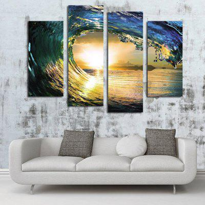 Buy COLORMIX 4PCS Sea Wave Sun Printed Canvas Print Unframed Wall Art for $14.10 in GearBest store