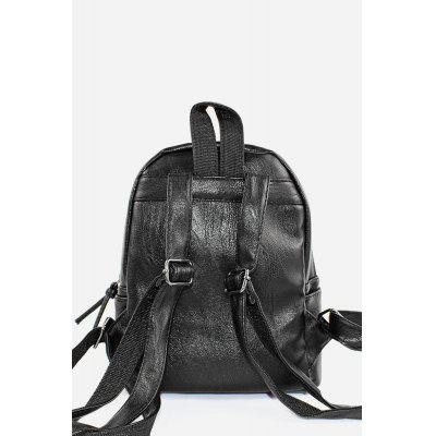 Rivet Black PU Leather Backpack School Bag for Girls от GearBest.com INT