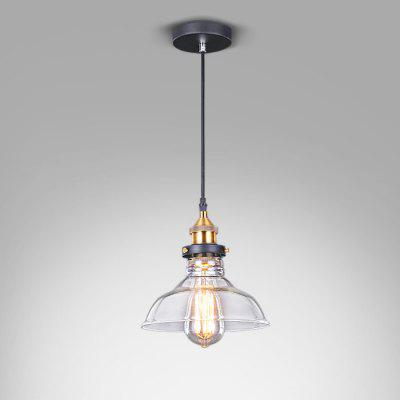 Stem Mounted Pendant Light Fixture with Glass Shade