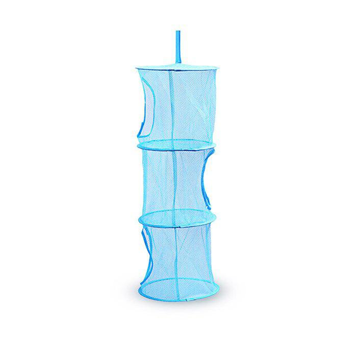 Buy 3-tier Portable Hanging Clothes Drying Basket BLUE