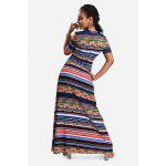 Striped V-neck Maxi Dress with High Waist - COLORMIX