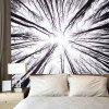 Gloomy Forest Pattern Tapestry Wall Hanging Bedspread - WHITE AND BLACK