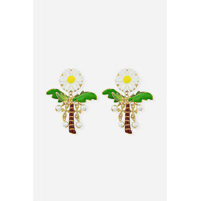 Fashion Pearl Alloy Sunflower Earrings