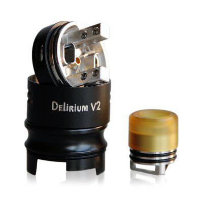 LOST VAPE Delirium v2 RDARebuildable Atomizers<br>LOST VAPE Delirium v2 RDA<br><br>Brand: Lost Vape<br>Material: Stainless Steel<br>Model: Delirium v2<br>Package Contents: 1 x Atomizer, 1 x Accessory Bag<br>Package size (L x W x H): 8.50 x 6.50 x 4.50 cm / 3.35 x 2.56 x 1.77 inches<br>Package weight: 0.1660 kg<br>Product size (L x W x H): 3.55 x 2.50 x 2.50 cm / 1.4 x 0.98 x 0.98 inches<br>Product weight: 0.0860 kg<br>Rebuildable Atomizer: RBA,RDA<br>Thread: 510<br>Type: Rebuildable Drippers, Rebuildable Atomizer