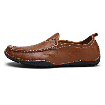 Hand Stitching Slip On Men Soft Leather Shoes
