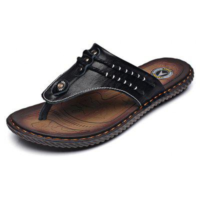 Street Fashion Cowhide Men Flip Flops