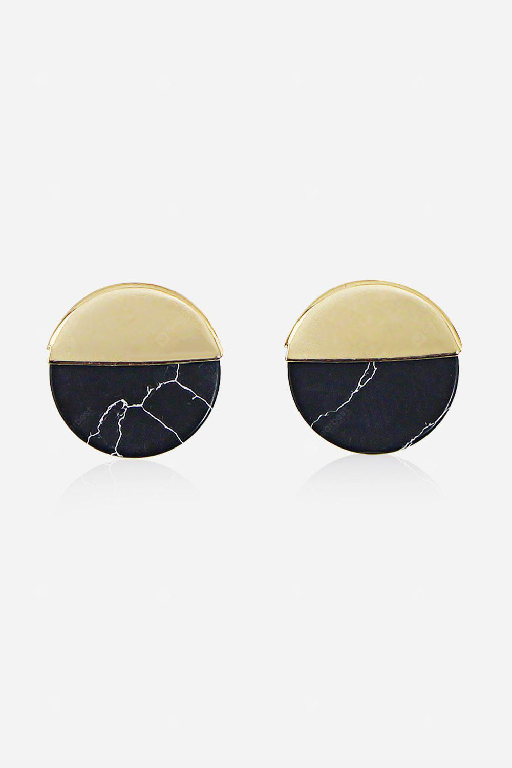 Fashion Round Wafer Splicing Earrings BLACK Watches & Jewelry > Fashion Jewelry > Earrings