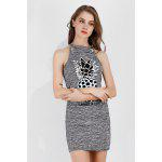 Cutout Pineapple Print Shift Sundress Crewneck Summer Dress - GRAY