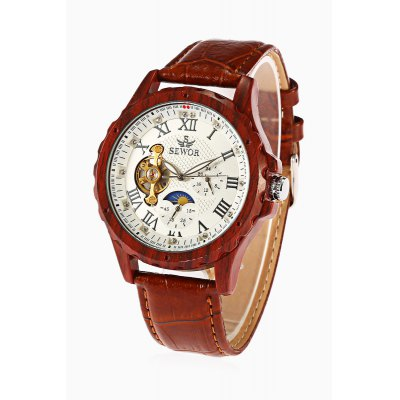 Buy SEWOR 201703 Mechanical Watch, WHITE AND BROWN, Watches & Jewelry, Men's Watches for $33.83 in GearBest store